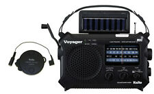 Hand Crank Kaito Voyager Emergency Radio + 23 ft Antenna, KA500 Black Radio