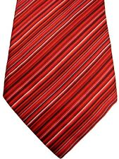 BRIONI Mens Tie Red Black & White Stripes