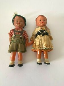Antique Dolls Small Celluloid German Boy Girl 1920s set of 2