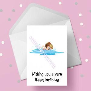 Swimming 06 Birthday Card - Free 1st class postage - Swim, Girl Swimmer Card