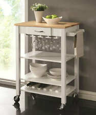 White and Natural Kitchen Cart with Butcher Block Top by Coaster 910025