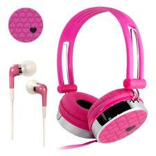 Pink Adjustable Love Heart Over-Ear DJ Headphones + In-Ear Earphones Kids Girls