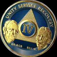 AA Founders 4 Year Medallion Sobriety Chip Gold & Ocean Breeze Blue Token Coin