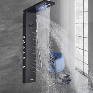 Stainless Steel Shower Panel Tower System LED Rainfall Shower Head w/Massage Jet