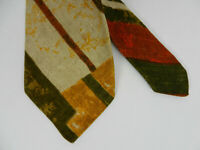Ruffler by Rooster Mens Neck Tie Yellow Rust Green Diagonal Plaid Wide All Linen