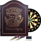 Dart Board And Cabinet Dartboard With Darts Scoreboard Set Wood Game Chalk Erase