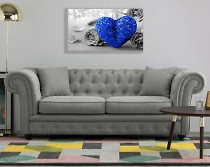 BLUE HEART ON BLACK AND WHITE CANVAS PRINT WALL ART PICTURE  18 X 32 INCH