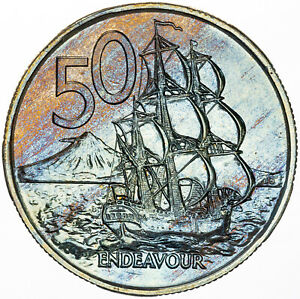 1976 NEW ZEALAND 50 CENTS PROOF MAGNIFICENT BLUE COLORING BU UNC TONED NICE (MR)