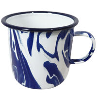600ML Handmade Blue and White Marble Effect Enamel Mug Featuring Unique Design