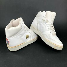 Vintage 80s MCM Mens 9 Leather White Gold Metal Stamp Lace Ups High Tops Shoes