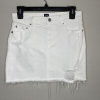 GAP Womens Sz 25 R White Denim Mini Skirt EUC Destroyed Stretch Raw Frayed Hem