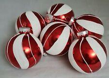 "Red & White Candy Cane Stripe Glitter Glass Ornament Set 6  3.5"" Ball Kurt Adler"