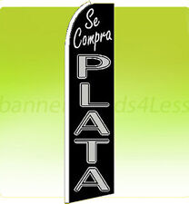 Feather Swooper Flutter Tall Banner Sign Flag - SE COMPRA PLATA We Buy Silver q