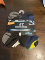 New! 6 Pack Of Russell Performance Youth Boys No Show Socks Sz Medium 9 - 2 1/2