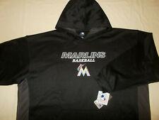 NWT MAJESTIC MLB FLORIDA MARLINS BASEBALL BLACK HOODED SWEATSHIRT MENS 4XL