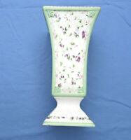 Laura Ashley Floral Pedestal Square Vase 4.75 x 9.5