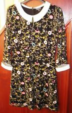 Topshop, black lace dress with multi colour flowered embroidery10 BNWT