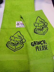 Mean Green Grinch Santa Sketch Personalized  3 Piece Bath Towel Set