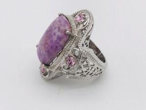 A78a KARIS Chilean Phosphosderite Simulated Pink Sapphire Ring Size 8 Purple Gem