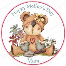 Personalised Happy Mothers Day Gardening Teddy Edible Icing Party Cake Topper