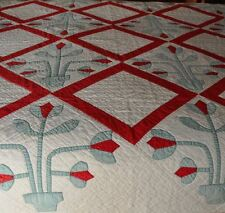 1930s FOLKY POTTED TULIPS VINTAGE ANTIQUE QUILT – PERFECT CHRISTMAS DISPLAY!