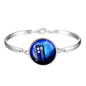 Tardis in a Space Rainbow - Dr. Who bracelet,Cabochon Tibetan silver Bracelets