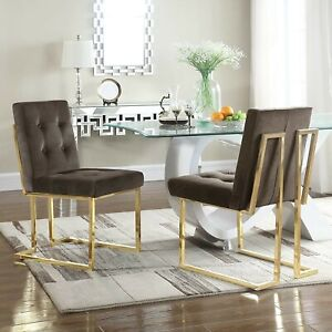 Iconic Home Liam Brass Metal Frame Modern Tufted Velvet Dining Chairs in Taupe