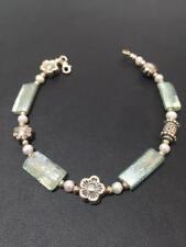 New Stylish Sterling Silver Bracelet White Pearls Flower Rectangular Roman Glass