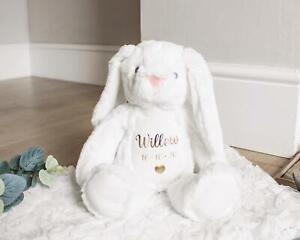 Personalised Easter Bunny Teddy New Baby Gift Flower Girl Soft Toy White Rabbit