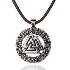 Odin's Symbol Necklace ~ Viking Valknut Pendant ~ Silver Talisman Rune Amulet
