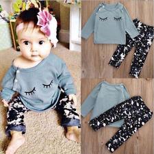 1Set Cute Toddler Baby Girls Eyelash Print Cotton T-Shirt Tops+Pants Outfits