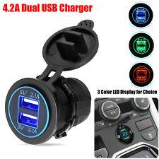 12V Car Cigarette Lighter Socket Dual 2.1A USB Port Charger Power Outlet LED New