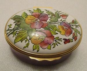 Halcyon Days Enameled Trinket Box Designed By Tiffany & Company Floral Bouquet