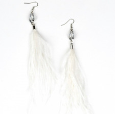 NEW PAPARAZZI WHITE FEATHER EARRINGS