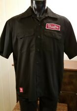 WHITEBOY Black Work Shirt Button front Black Sz M