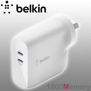 GENUINE Belkin Boost Up Charge 68W Dual USB-C PD GaN Power Delivery Wall Charger