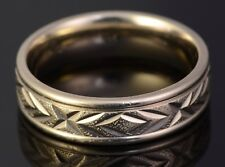 #022 Estate 14k White Gold Mens 5mm Wedding Band Ring Size 9 Not Scrap