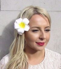 Double Blanc Grand Plumeria Frangipani Flower Hair Clip Bandeau 1950 S 3939