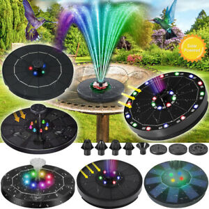 LED Springbrunnen Solar Pumpe Teichpumpe Brunnen Fontäne Garten Wasserspiel Akku