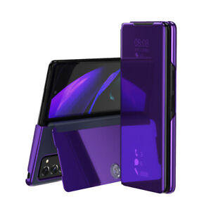 Plating Mirror Leather Flip Stand Phone Case For Samsung Galaxy Z Fold2 5G Cover