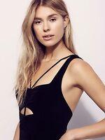 New $148.00 FREE PEOPLE Beach Boho Strappy Cutout Black Maxi Dress Size XS S