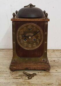 Rare Antique 28 cm Oak & Brass Arts & Crafts Mantel Clock