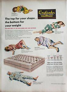 Vintage 1948 Englander Mattress Print Ads Ephemera Wall Art Decor Red Line