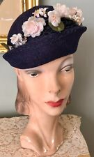 New listing Vintage 1940's Blue Hat W/ Pink Flowers
