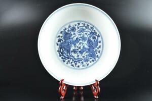 L960: XF Chinese Blue&White Chicken Flower Arabesque ORNAMENTAL PLATE/Dish
