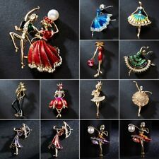 Fashion Flower Dancing Girl Crystal Pearl Brooch Pin Women Jewelry Wedding Gift