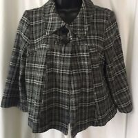 Notations Women's Black and White One Button 3/4 Sleeve Short Jacket Size M