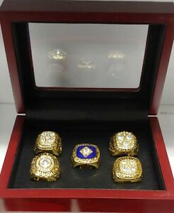 Edmonton Oilers - Stanley Cup 5 Ring Set WITH Wooden Box.. Gretzky Messier