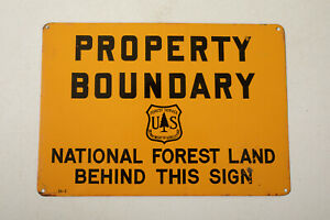 Property Boundary Line Tin Sign (E4R) National Forest Service 10x7 Dept Agricult