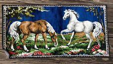 MINT Vtg 1960s Plush Crushed Velvet Wall Hanging ITALY Tapestry HORSES Rug